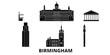 United Kingdom, Birmingham flat travel skyline set. United Kingdom, Birmingham black city vector panorama, illustration, travel sights, landmarks, streets.