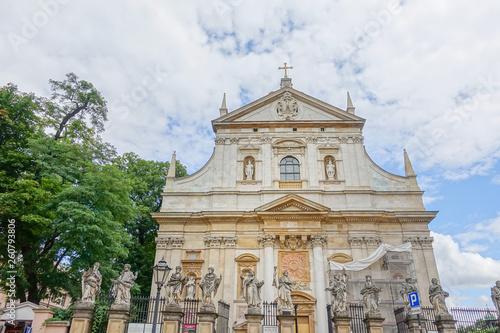 KRAKOW, POLAND - August 27, 2017: antique Church building in Krakow, Poland