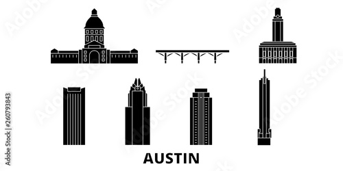 Fotografia  United States, Austin flat travel skyline set