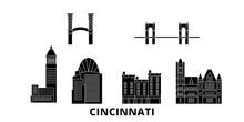 United States, Cincinnati Flat Travel Skyline Set. United States, Cincinnati Black City Vector Panorama, Illustration, Travel Sights, Landmarks, Streets.
