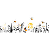 Fototapeta Kwiaty - Vector nature seamless background with hand drawn wild herbs, flowers and leaves on white. Doodle style floral illustration.