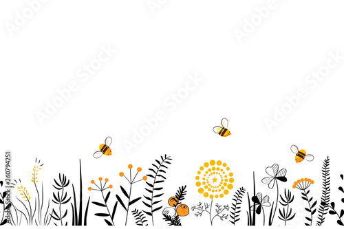 Vector nature seamless background with hand drawn wild herbs, flowers and leaves on white. Doodle style floral illustration. - 260794251