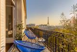 Fototapeta Fototapety Paryż - beautiful paris balcony at sunset with eiffel tower view