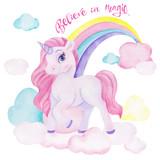 Watercolor illustration with cute unicorn