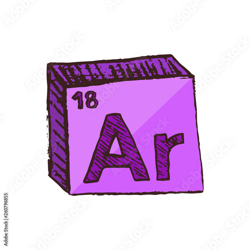 Photo Vector three-dimensional hand drawn chemical neon purple symbol of argon with an abbreviation Ar from the periodic table of the elements isolated on a white background