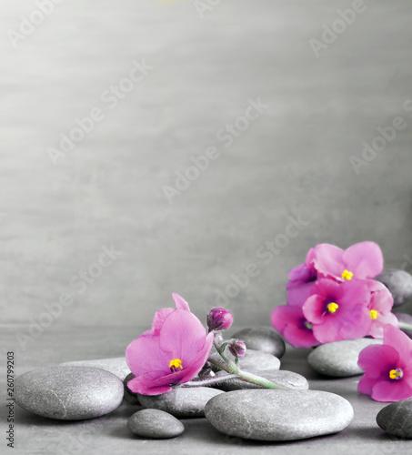 Photo  Purple flower and stone zen spa on grey background