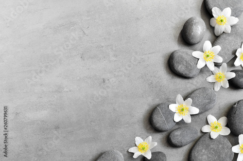 Staande foto Spa White flower and stone zen spa on grey background