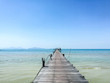 Wooden bridge on the sea in Thailand