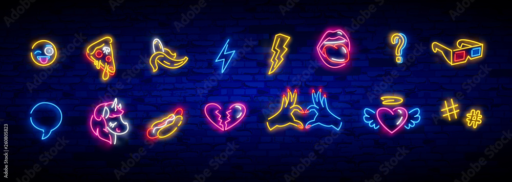Fototapety, obrazy: Pop art icons set. Pop art neon sign. Bright signboard, light banner. Neon isolated icon, emblem. Heart, diamond, pizza, smile, hand, ice cream, star, donut and unicorn vector neon icon