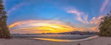 Stunning Sunset At Fishing Vil...