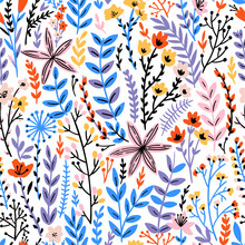 Cute Floral Seamless Pattern W...