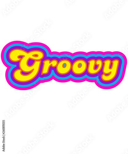 Vászonkép Word groovy script 60s era