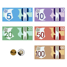 Canadian Style Money Bills  Five Ten Twenty Fifty  One Hundred & Coins One & Two Dollars