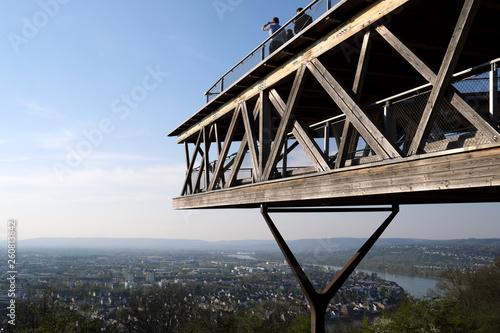 Fotografie, Obraz  Aussichtsplattform Ausschnitt im Festungspark Koblenz Ehrenbreitstein mit Blick
