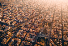 Aerial View Of City, Barcelona...