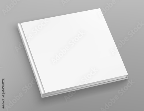 Fotografering  White hardcover square book album vector mock up on grey table.
