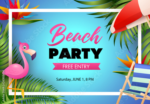 Beach party poster design  Pink flamingo, beach chair, umbrella