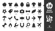 Basic Glyph Shapes Icon Set With Simple Fill Silhouette Apple, T-shirt, Weight, Egg, Lock, Mushroom, Alarm Clock, Fan, Tag, Infinity, Camera, Bow Tie, Leaf, Snowflake, Umbrella And More Black Symbols.