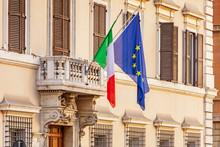 Italian And European Union Fla...