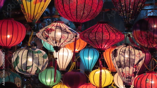 Fotografiet  Pattern, many bright colorful lampions handmade in Vietnam