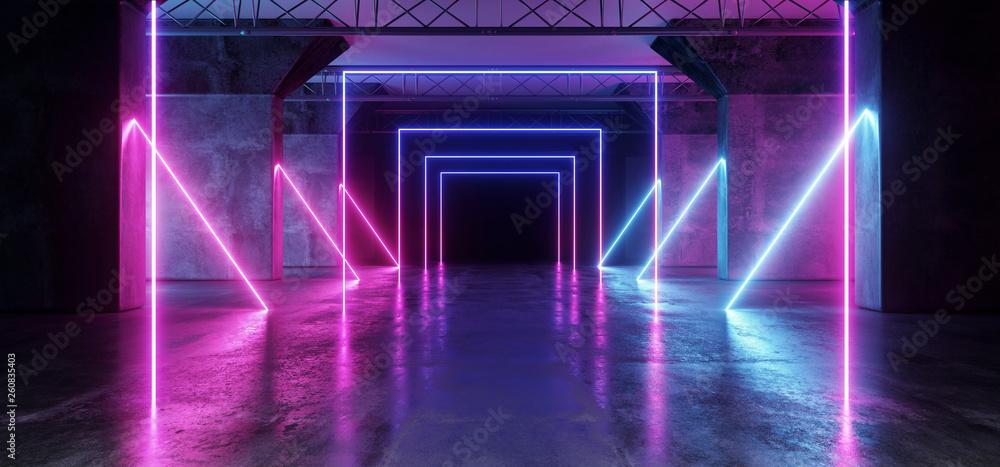 Fototapeta Virtual Path Sci Fi Neon Glowing Fluorescent Laser Alienship Stage Dance Lights Ultraviolet Purple Blue Pink In Dark Empty Grunge Concrete Neon Reflective Tunnel Hall Corridor 3D Rendering