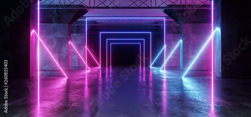 Cuadros en Lienzo  Virtual Path Sci Fi Neon Glowing Fluorescent Laser Alienship Stage Dance Lights