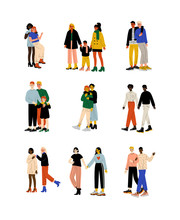 Happy Gay And Lesbian Couples Set, Women And Men Hugging, Homosexual Family Couples And Their Kids, Romantic Homosexual Relationship Vector Illustration