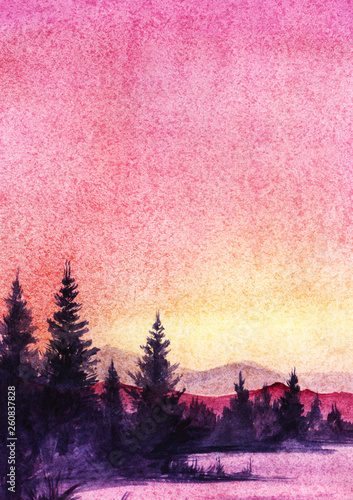 Photo Stands Candy pink Sunset landscape with sea and transparent mountains, dark silhouette of spruce forest in a pink, blue, yellow, violet, lilac pastel colors. Hand drawn real watercolor illustration