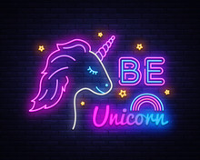 Be Unicorn Neon Sign Vector De...
