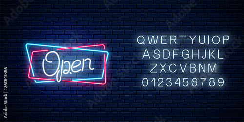 Neon open hand drawn sign in geometric shapes with alphabet. Round the clock working bar and nightclub signboard