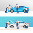 Auto service and repair. Car in maintenance workshop with mechanics team. Vector illustration.