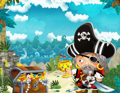 Aluminium Prints Pirates cartoon scene with pirate and treasure in the jungle - illustration for children