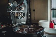 Coffee Roasting In Small Roastery. Coffee Roasting Machine, Production Of Coffee.