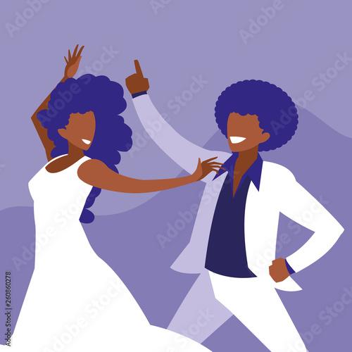 Poster Superheroes couple black dancing avatar character
