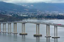 Tasman Bridge Spanning Across Derwent River In Tasmania Australia
