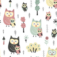 Seamless Pattern With Cute Owl...