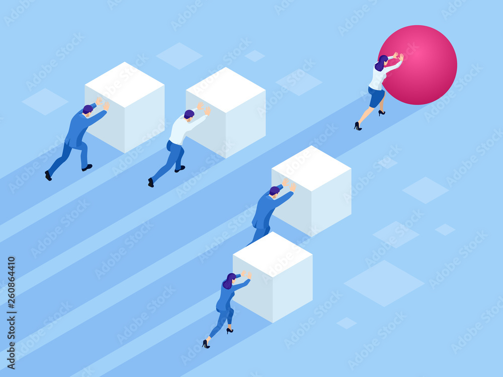 Fototapeta Isometric Business people pushing cubes. Winner easily moving the cube. Winning strategy, efficiency, innovation in business concept.