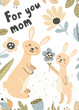 Cute baby bunny gives his mom a flower. Mother and baby vector illustration