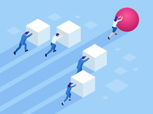 Isometric Business People Push...