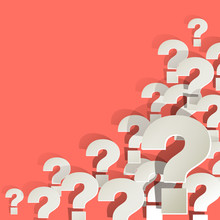 Question Marks White In The Corner On A Coral Color Background