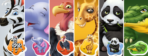 Naklejka Do pokoju dziecka Wild animals. Zebra, elephant, vulture, giraffe, panda, crocodile. 3d vector icon set