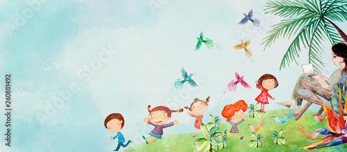 Naklejki do przedszkola happy-children-with-mother-watercolor-background