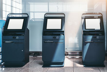 Three Automatic Check-in Counters In The Departure Area Of An Airport Terminal Or Railway Station Depot With Empty White Screen Mockups; Templates Of Blank LCD Screens Of Self-service Indoor Terminals