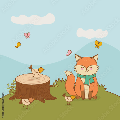 cute fox in the landscape woodland character