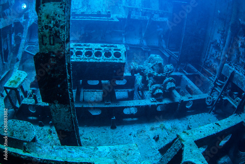 A natural light shot from the inside of a sunken ship in the