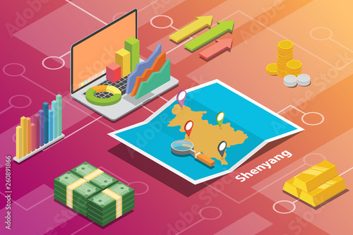 Valokuva  shenyang northeast liaoning city isometric financial economy condition concept f