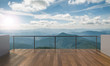 Leinwanddruck Bild - Balcony view of  mountains. Landscape. Sunny Day. Terrace with a beautiful view. Background with beautiful landscape.