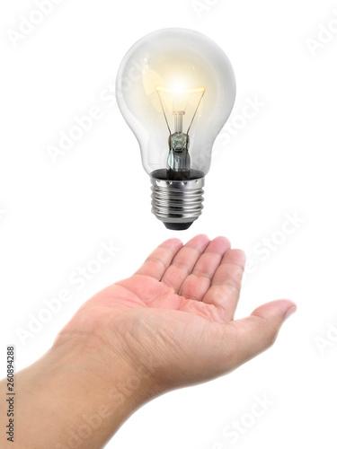 Photo  Ideas bulb light on a hand