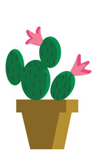 Painting Of A Cactus Plants Th...