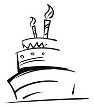 Sketch Of A Three-layered Birthday Cake With Glowing Candles For Celebration Vector Color Drawing Or Illustration